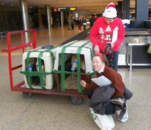 Inch arrives in Seattle on Christmas Eve greeted by Xan Blackburn (kneeling) of Team Inch and Moira Corrigan of GPI.